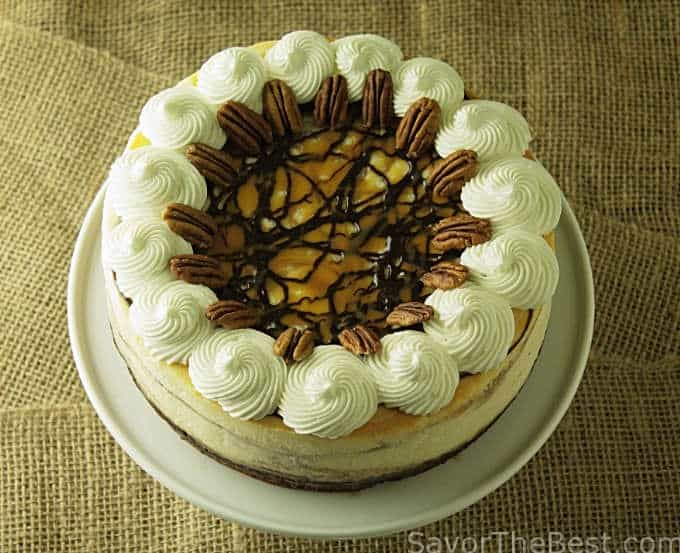 Chocolate and caramel swirled cheesecake