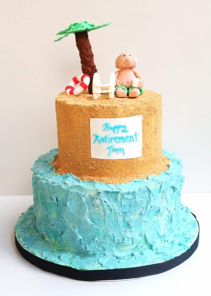 retirement beach cake