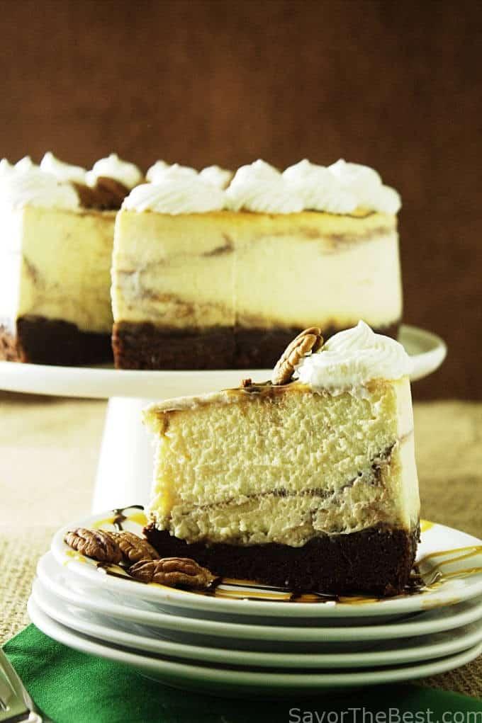 chocolate caramel swirl cheesecake