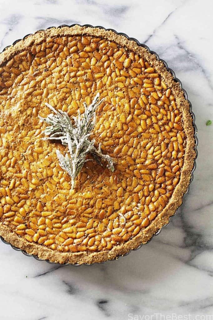 Rosemary pine nut tart