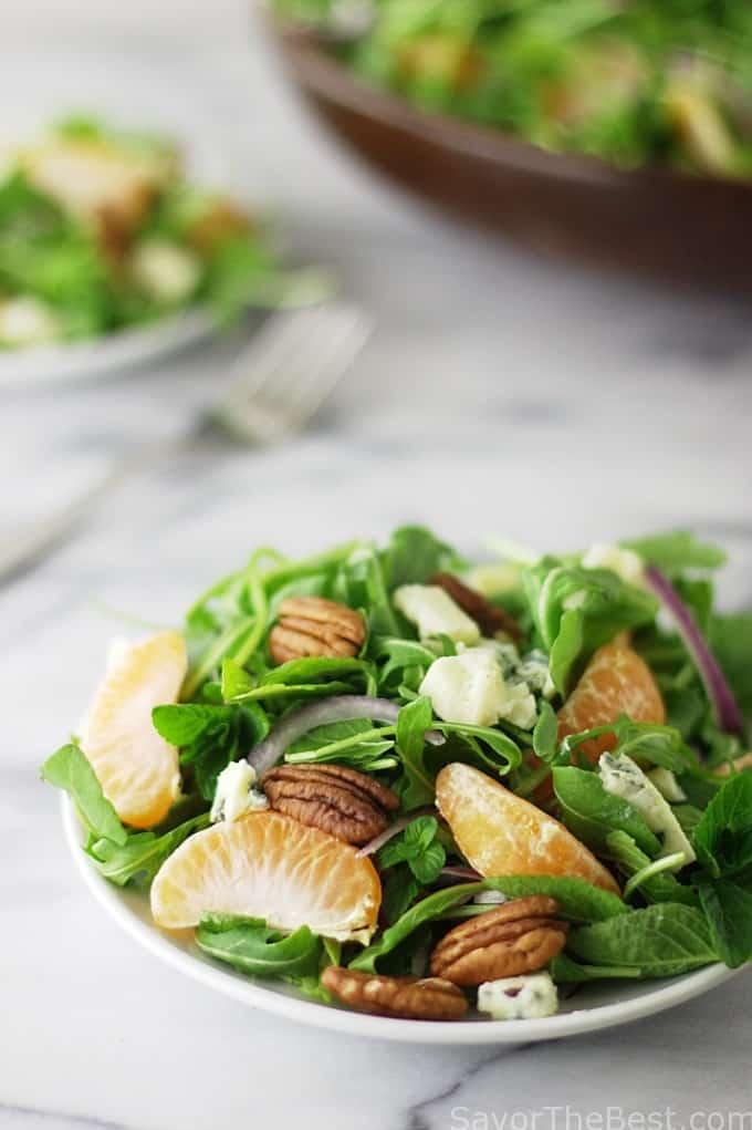 Mixed Greens, Fresh Mint and Satsuma Salad with Gorgonzola