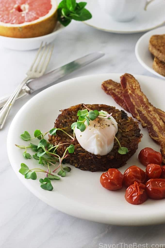 Farro Breakfast Risotto with Poached Egg