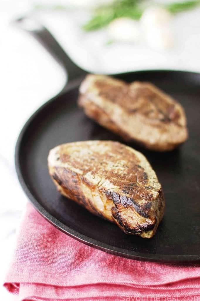 Beef Tenderloin Steaks with Garlic-Herb Compound Butter
