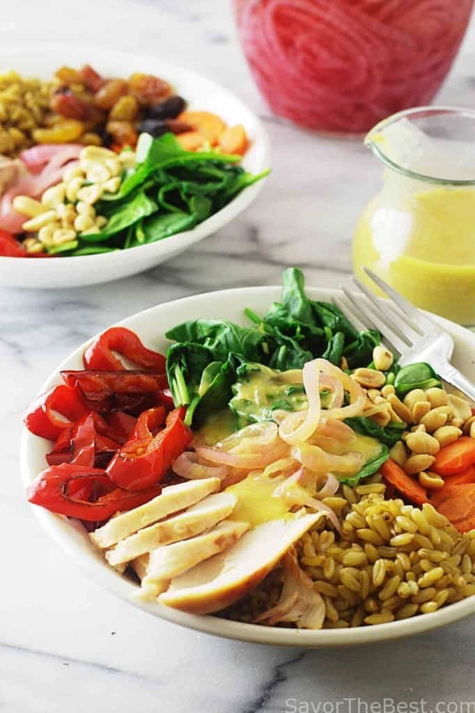 Kamut Grain Bowl with Roasted Chicken and Curry Sauce