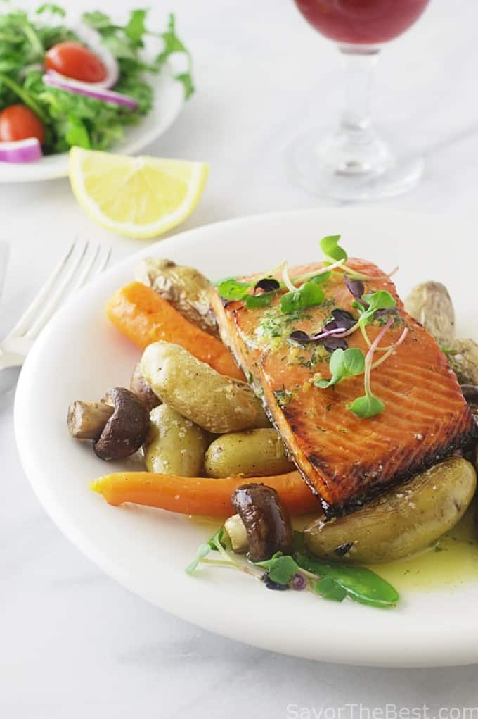 Honey-Lemon Glazed Salmon with Lemon-Dill Butter