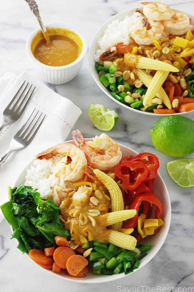 There is a lot of heat in our Thai spicy shrimp grain bowl and it all comes from the shrimp that is sautéed in garlic and hot chili oil plus the spicy peanut sauce.