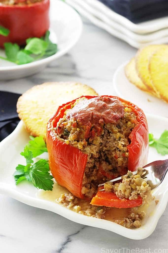 Einkorn Berries and Beef Stuffed Peppers