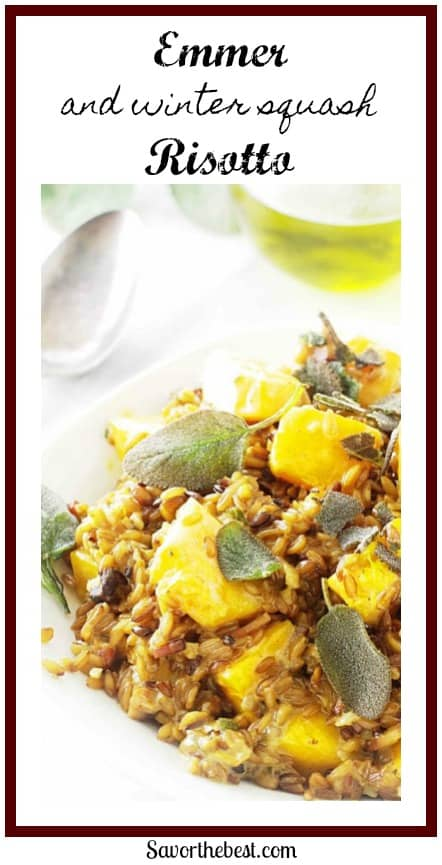 This dish of emmer and winter squash risotto has it all…..texture from the tender grains, sweetness from the cubes of squash, creaminess from the crème fraîche and cheese, plus the ever-so-slight flavors of fresh sage and seasonings.