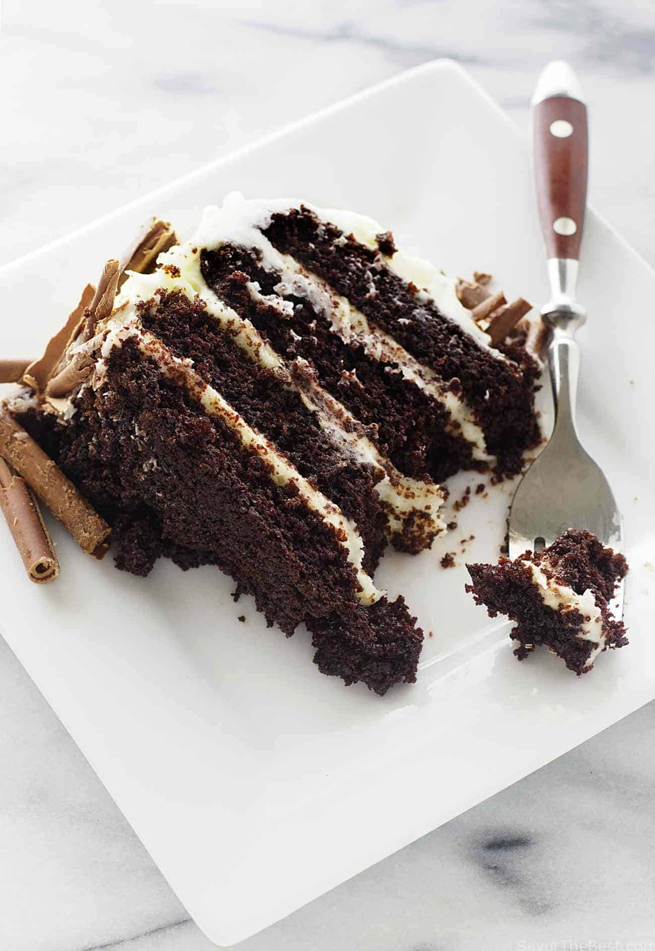 Rich chocolate cake cream cheese frosting