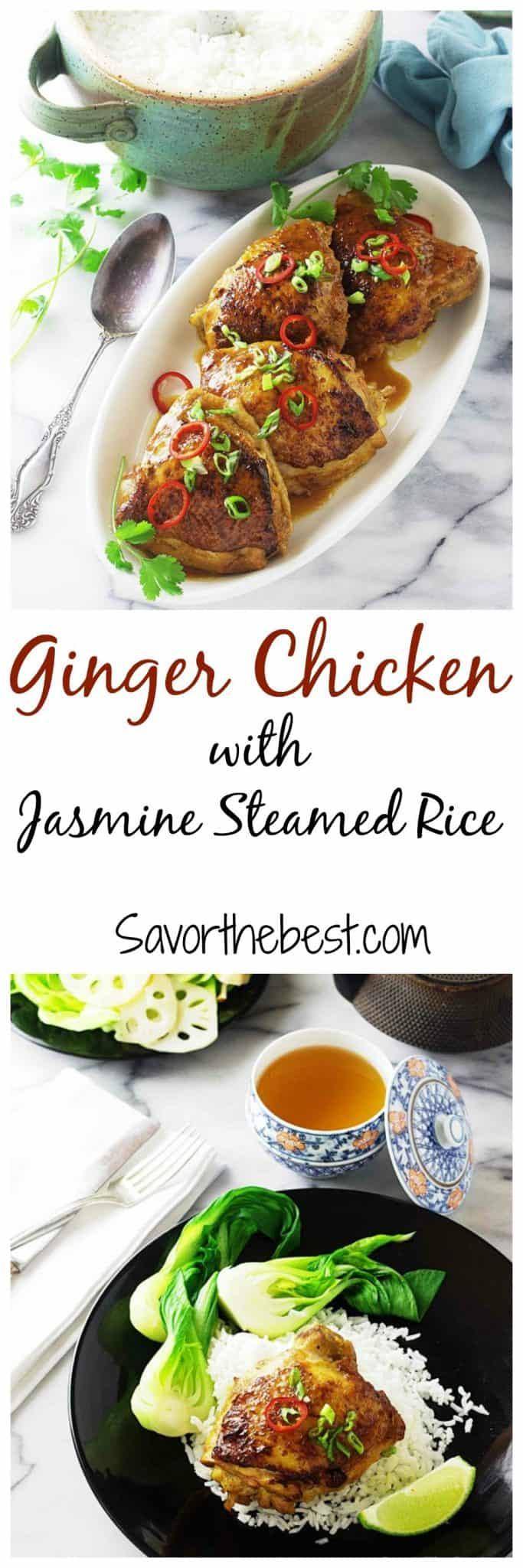 ginger chicken with jasmine steamed rice