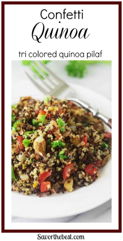 tri colored quinoa pilaf with carrots, red peppers and green onions give this side dish a festive confetti look