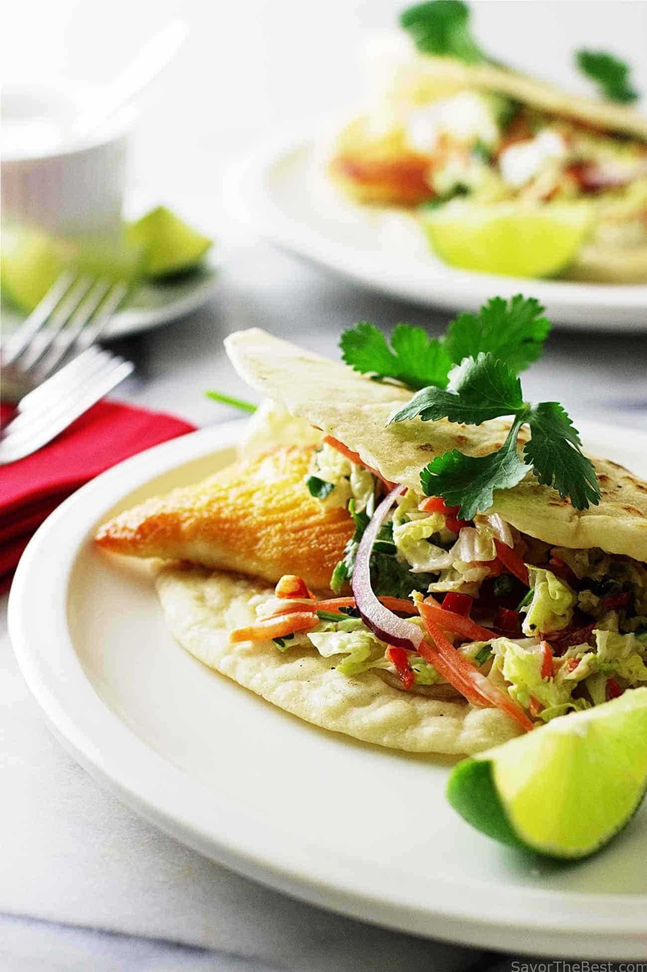 Tex mex fish tacos with chipotle slaw savor the best for Good fish for fish tacos