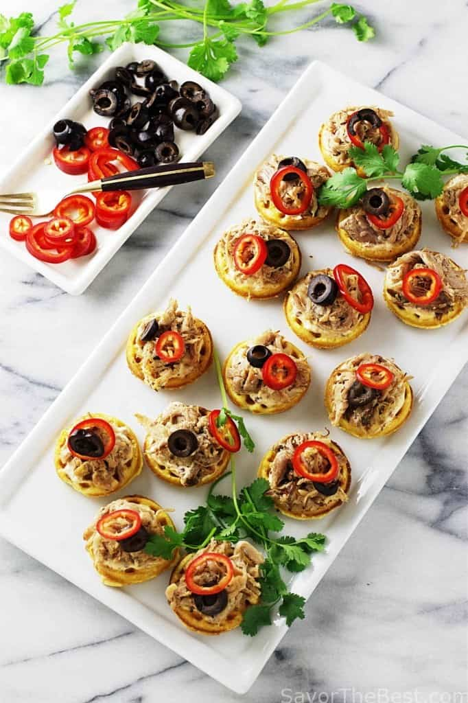 Chipotle Pulled Pork and Mini Corn Waffle Appetizers
