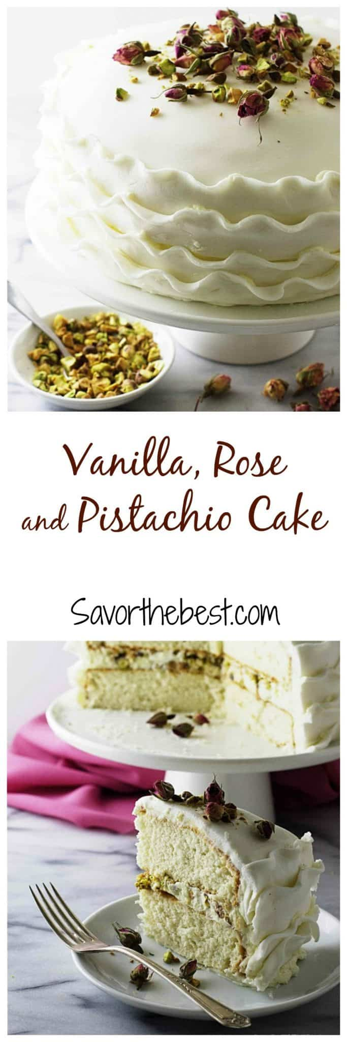 A pure white vanilla cake flavored with a thick rose and pistachio creamy filling, frosted with rose flavored buttercream and white fondant ribbons. It is adorned with dried baby tea rose buds and roasted pistachios.