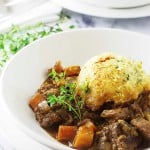 Beef Casserole with Garlic-Chive Einkorn Dumplings