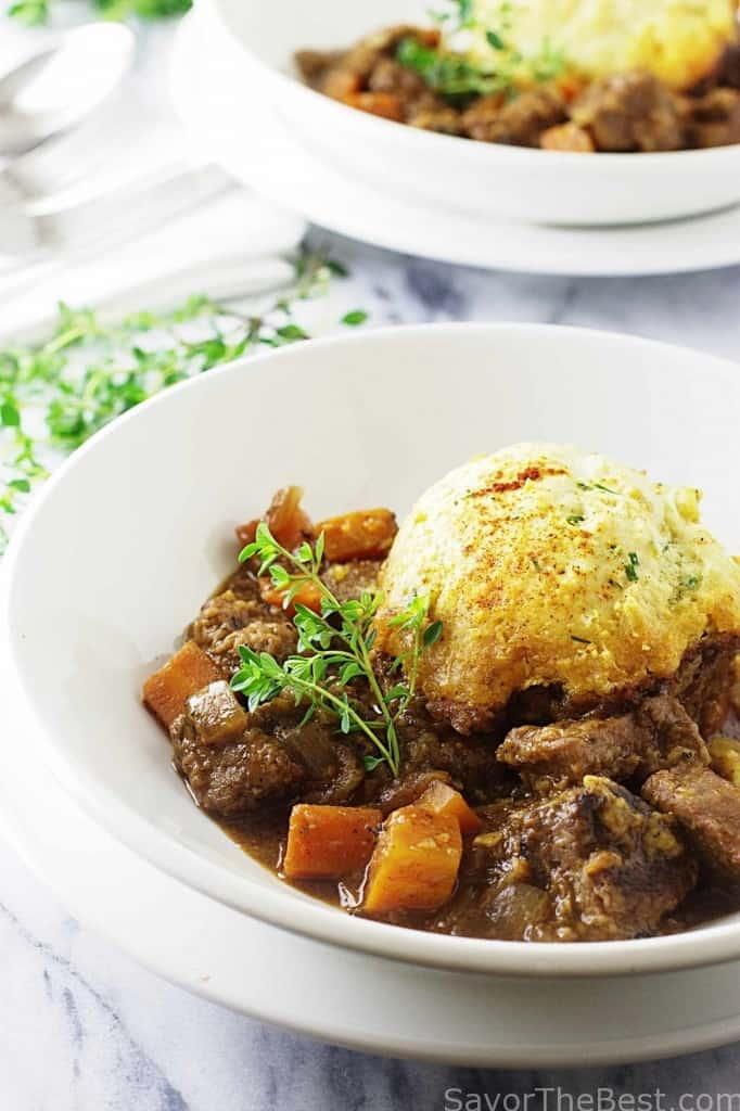 Beef Casserole with Garlic-Chive Einkorn Dumplings