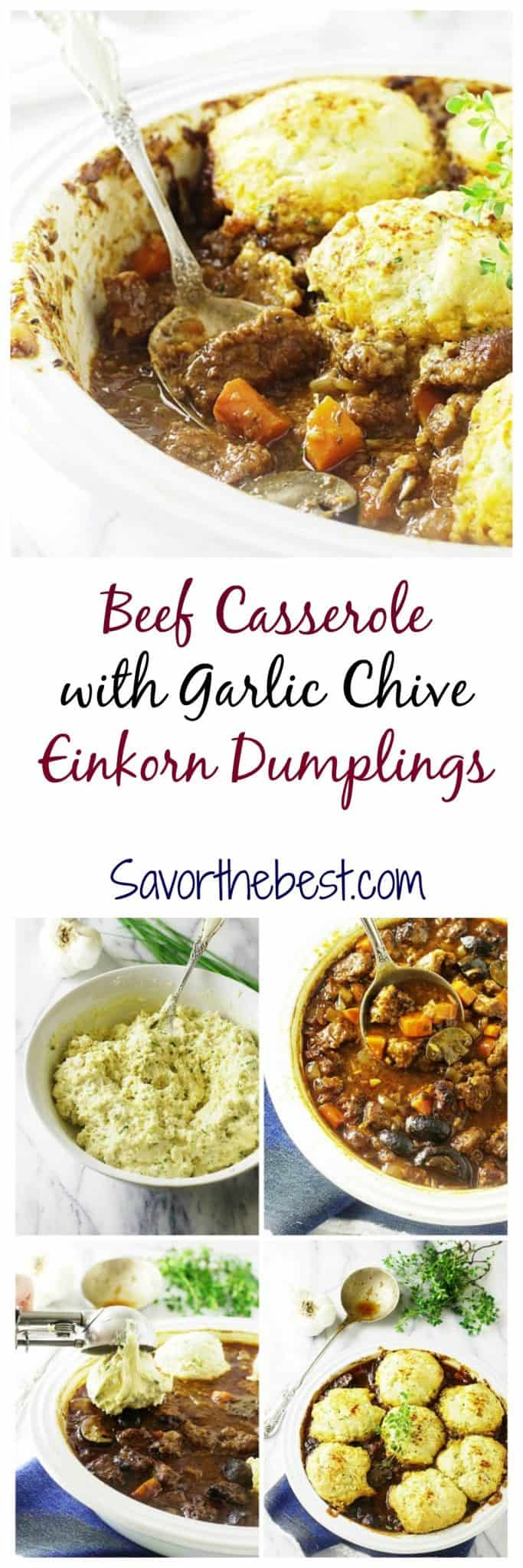 Beef casserole with garlic-chive einkorn dumplings is loaded with beef and veggies in a flavorful sauce and topped with garlic-chive einkorn dumplings.