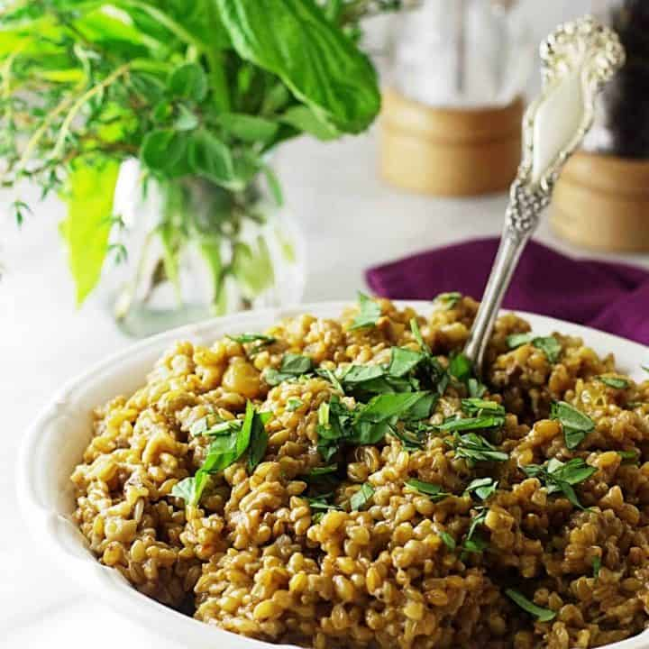 einkorn coconut curry risotto