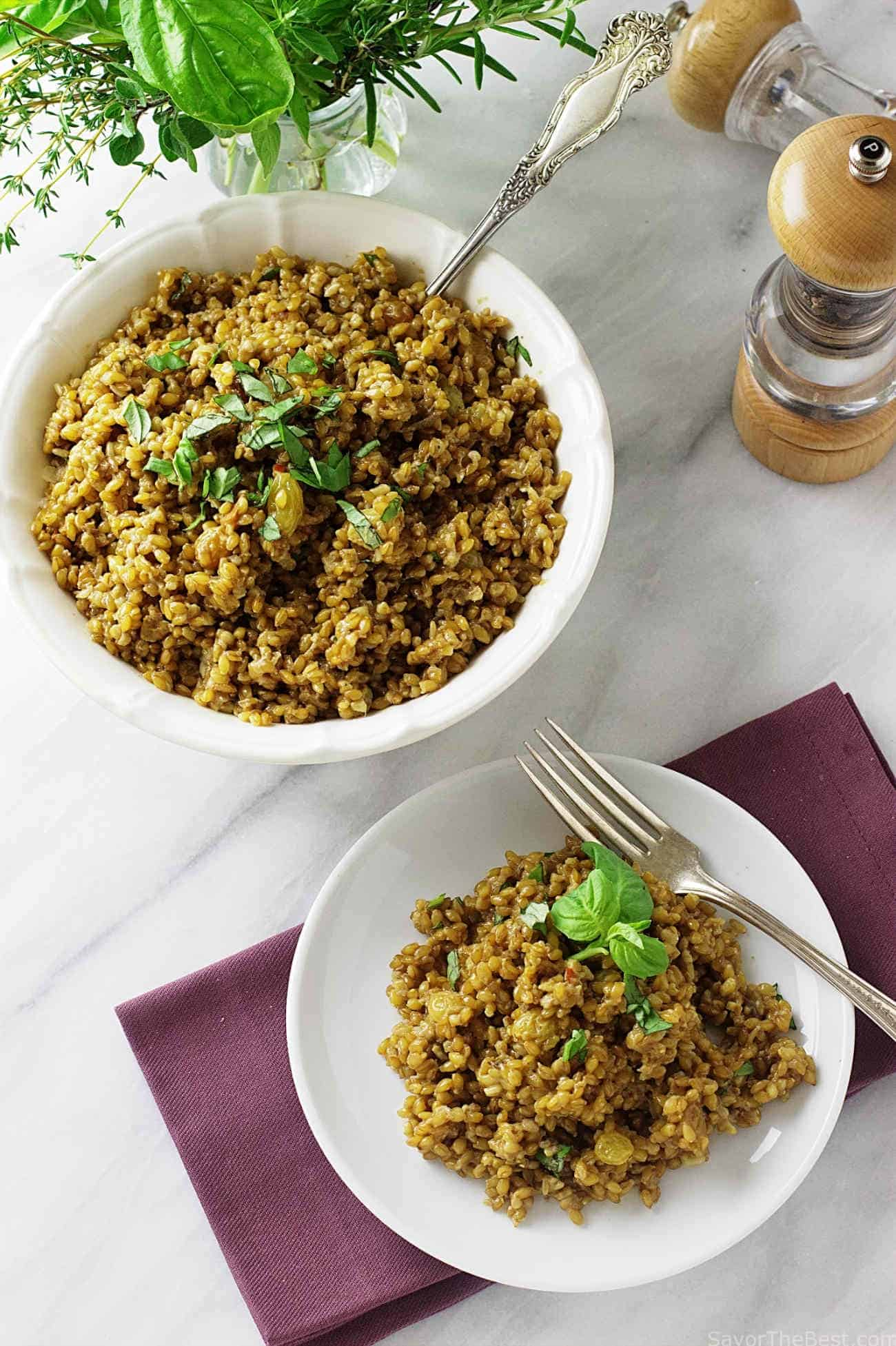 two bowls of einkorn coconut curry risotto