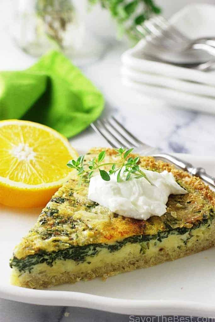 Spinach-Gouda Quiche with Quinoa Crust