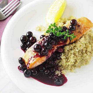 Wild Alaskan King Salmon with Blueberry Sauce