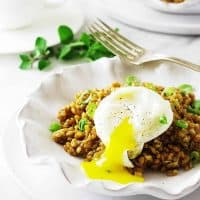 Einkorn Breakfast Pilaf with Poached Egg