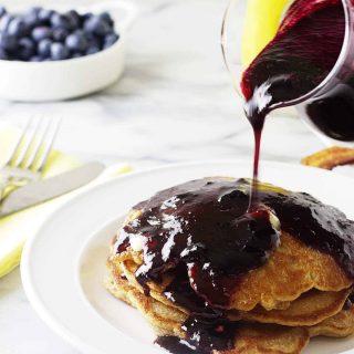 whole wheat einkorn blueberry pancakes