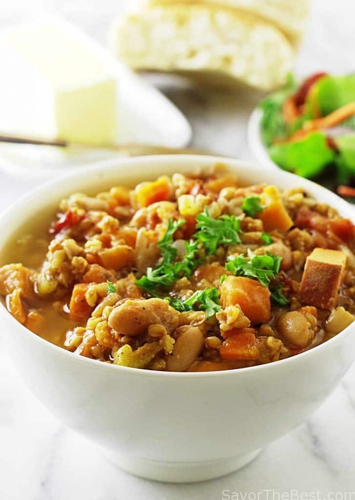 Einkorn, white bean and sweet potato stew