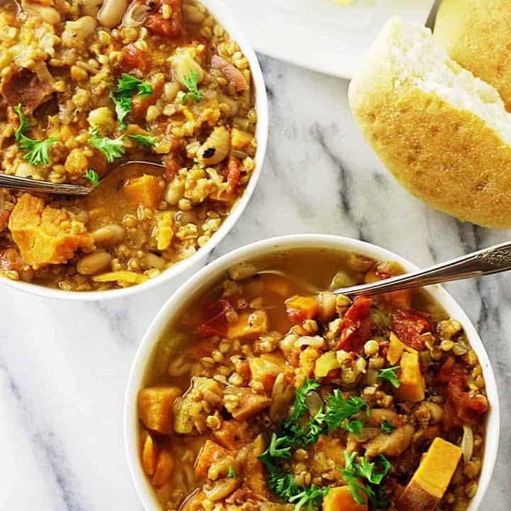 Einkorn white bean and sweet potato stew
