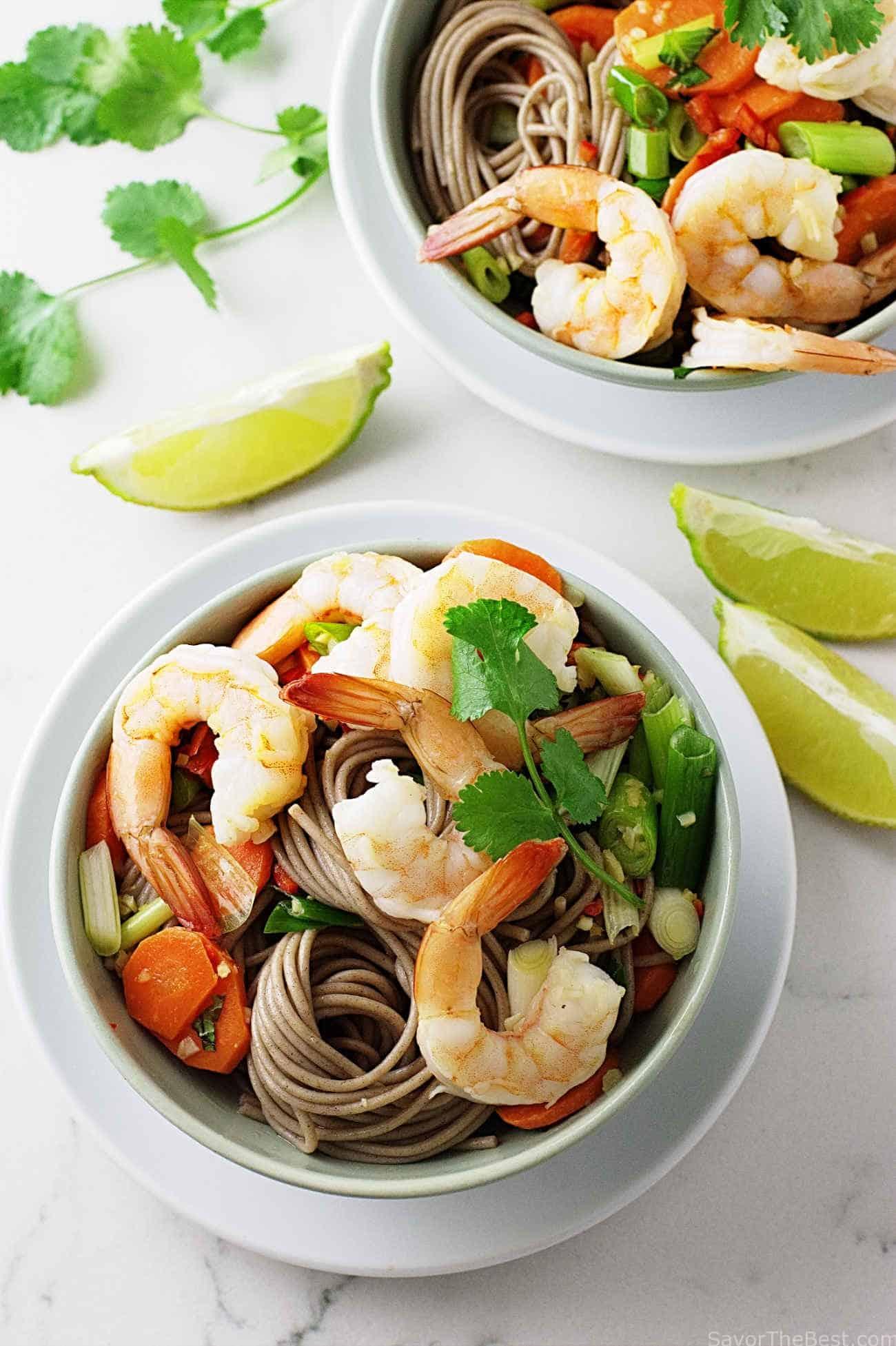 Soba with shrimp