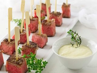 Beef Steak Bites with Fresh Horseradish Aioli Sauce