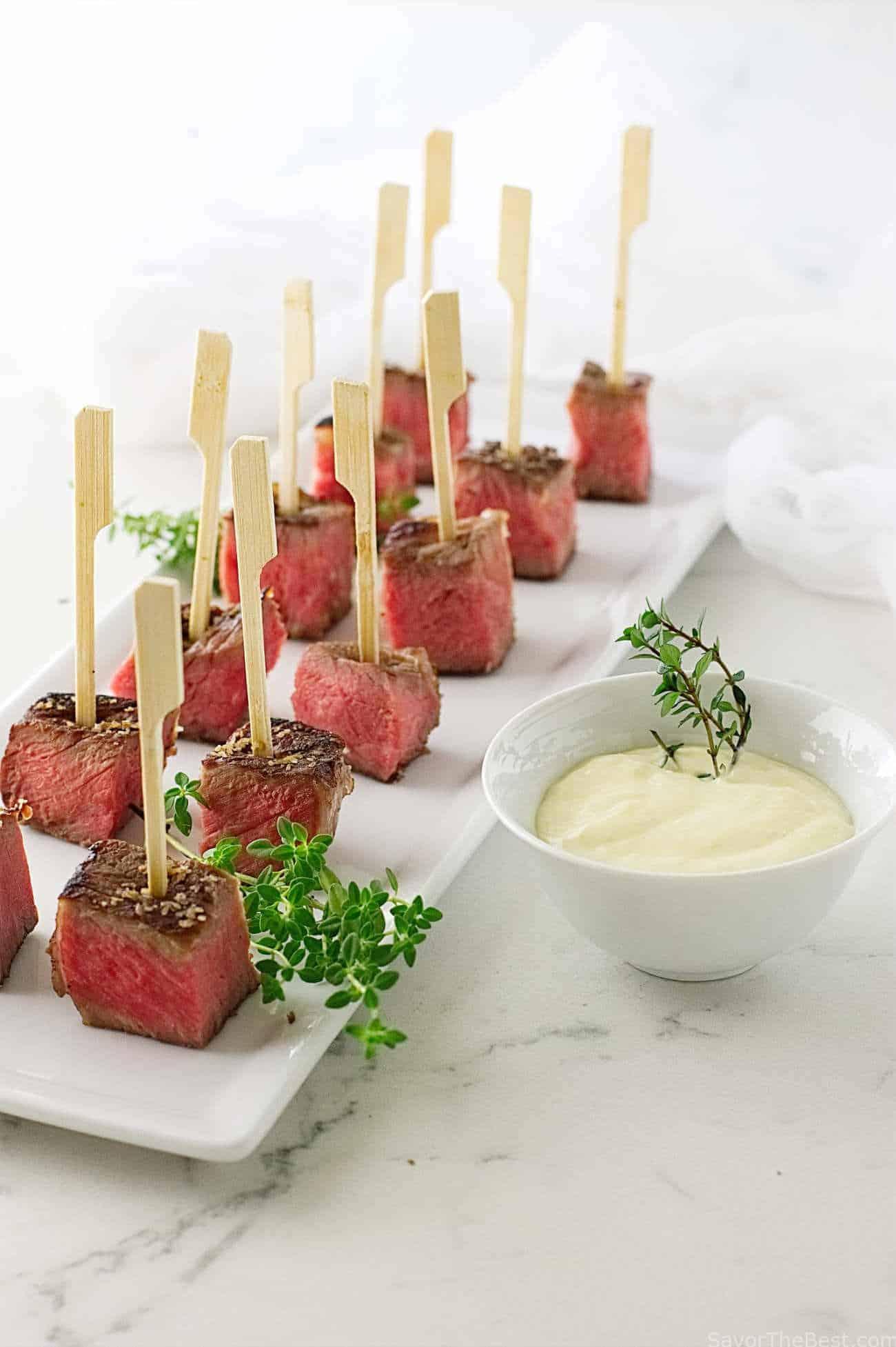 Beef Steak Bites with Fresh Horseradish Aioli Sauce ...