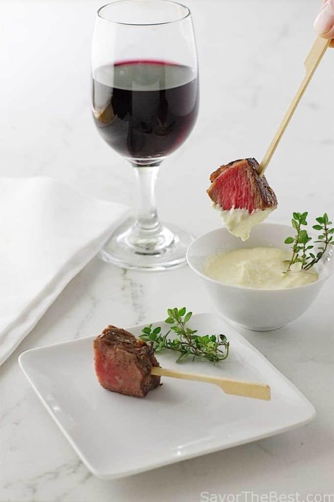 Beef Steak Bites with Fresh Horseradish Aioli Sauce