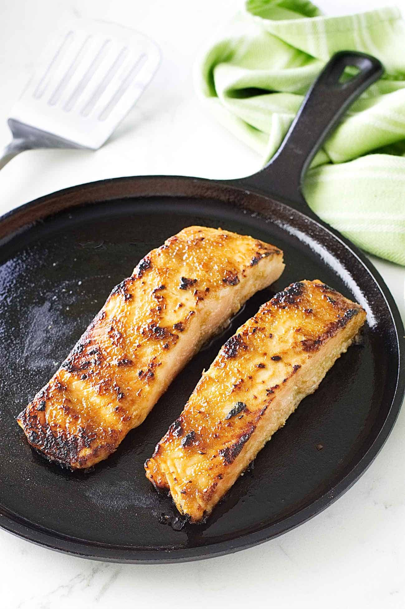 While The Oven Was Preheating On Broil, We Heated Our Cast Iron Griddle  The Salmon Fillets Were Removed From The Marinade, And After The Excess  Marinade