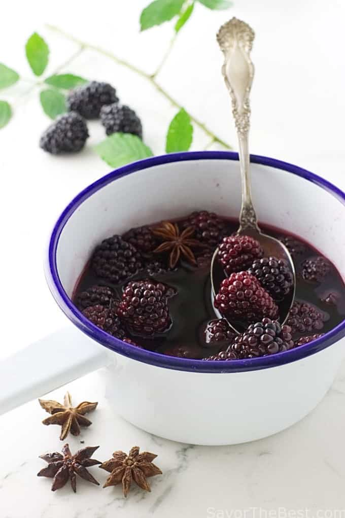 Blackberry Soup with Buttermilk Custards