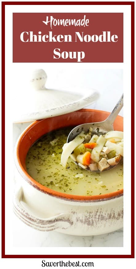 Homemade chicken noodle soup. Hearty, Healthy and nourishing chicken noodle soup. Full of chicken bits, vegetables and thick noodles.