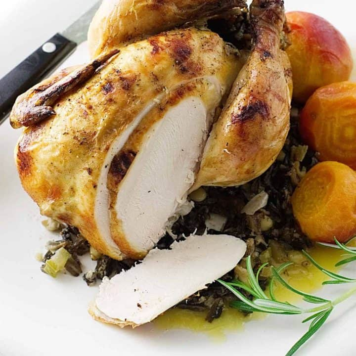 Roasted Cornish Game Hens & Wild Rice-Fig Stuffing