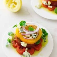 Heirloom Tomato Napoleon with Maytag Blue Cheese Crumbles