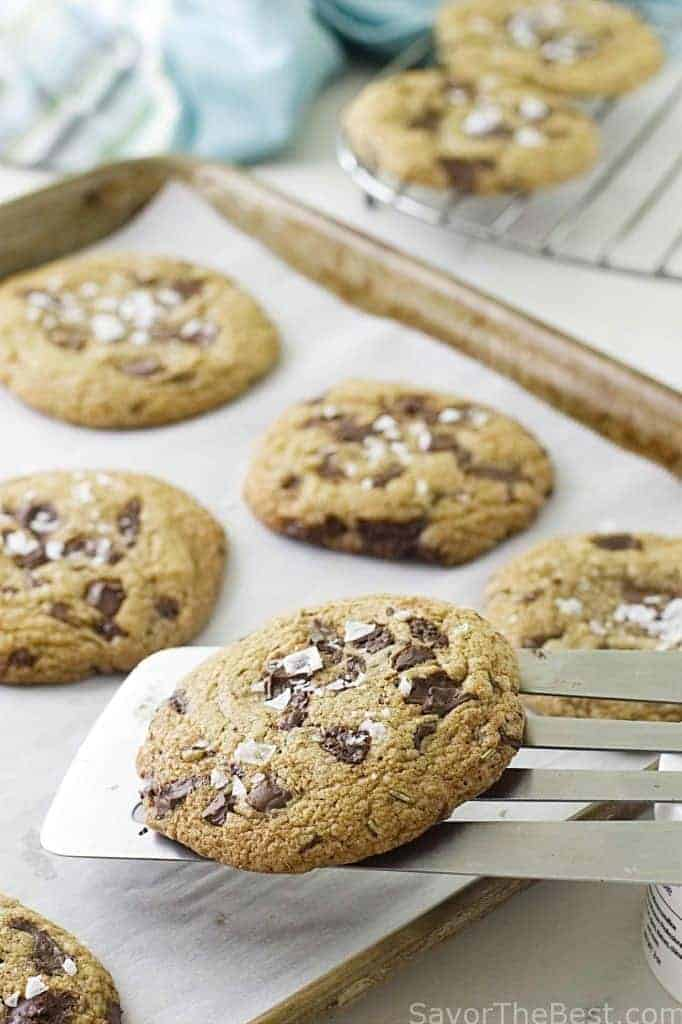 sprouted spelt rosemary chocolate chunk cookies