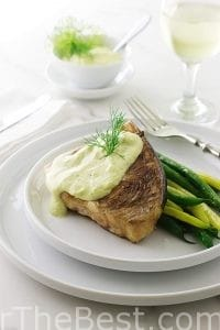 Grilled Swordfish Steak with Lemon-Dill Aioli Sauce.