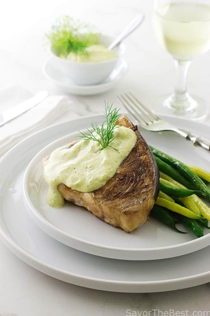 Grilled Swordfish Steak with Lemon-Dill Aioli Sauce.
