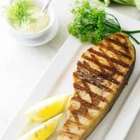 Grilled Swordfish Steak with Lemon-Dill Aioli Sauce