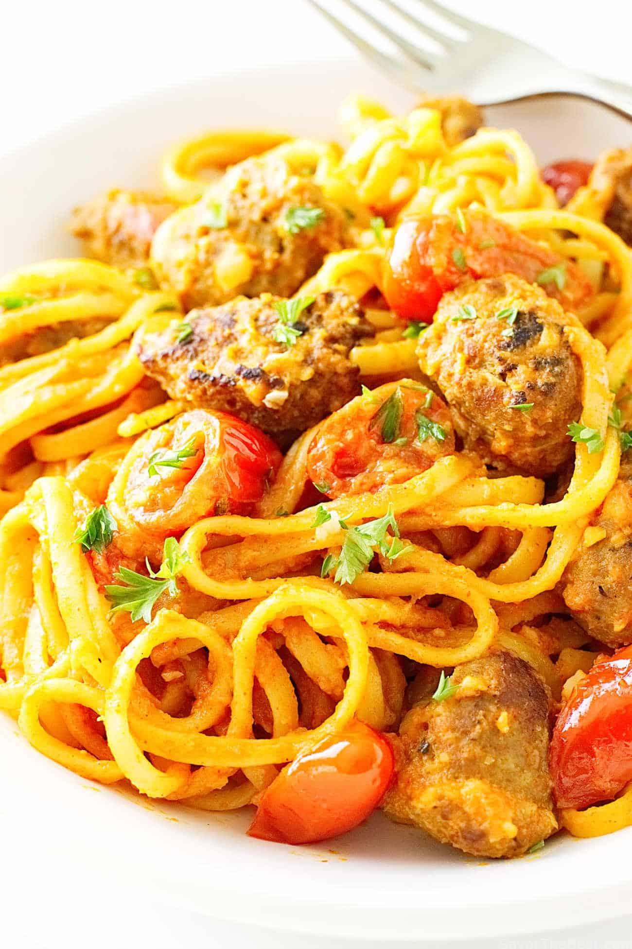 Linguini with Spanish Chorizo and Romesco Sauce   Savor the Best