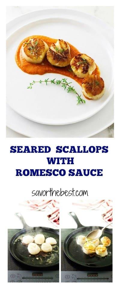 Seared Scallops with Romesco Sauce