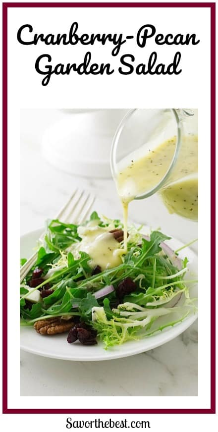 This crisp Cranberry-Pecan Garden Saladis made of vibrant greens, dried cranberries, pecans and blue cheese crumbles. It is tossed with a creamy lemon poppy seed dressing.