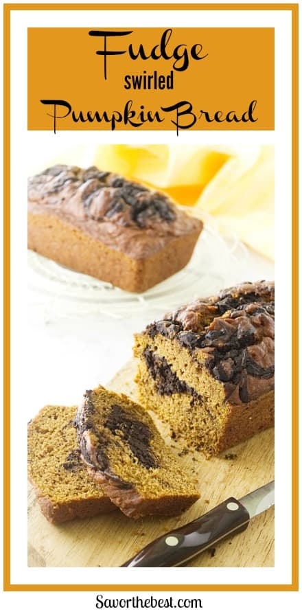 this chocolate fudge swirled pumpkin bread has layers of rich chocolate swirled into a moist pumpkin bread. It's the best chocolate swirled pumpkin bread you will ever have.