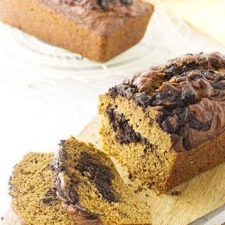 chocolate fudge swirled pumpkin bread