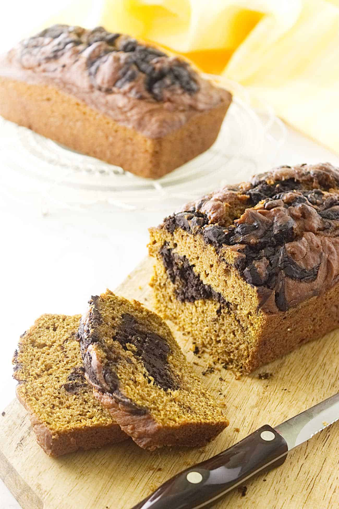 chocolate fudge swirled pumpkin bread