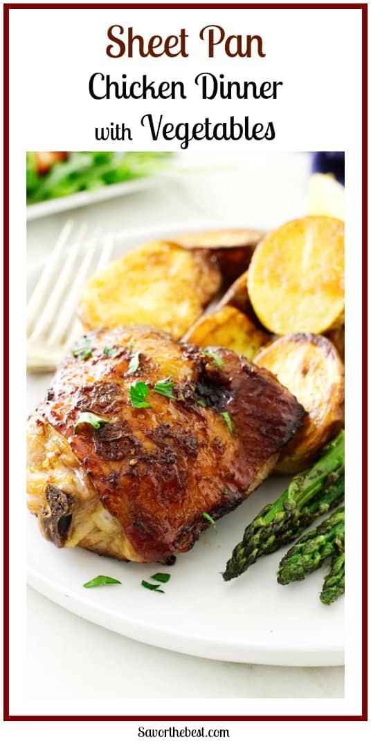 easy Sheet Pan Chicken Dinner! Roasted chicken thighs, small Yukon potatoes and tender fresh asparagus. Dinner on the table in thirty-minutes flat!