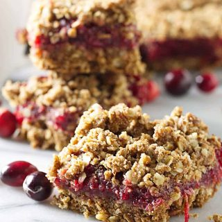 Sprouted wheat cranberry bars made with sprouted wheat flour and fresh cranberries